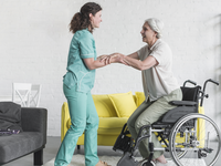 Source: freepik; Copyright: freepik; URL: https://www.freepik.com/free-photo/nurse-holding-disabled-senior-woman-s-hand-sitting-wheel-chair_2675946.htm; License: Licensed by JMIR.