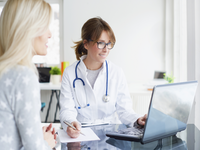 Source: Adobe Stock; Copyright: sepy; URL: https://stock.adobe.com/ca/images/doctor-and-her-patient-shot-of-a-middle-aged-female-doctor-sitting-in-front-of-laptop-and-consulting-with-her-patient/141411193; License: Licensed by JMIR.