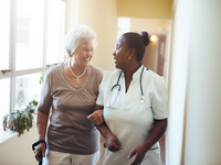Nurse-led care coordination service for people with multimorbidity. Source: Jacob Lund / Shutterstock; Copyright: Jacob Lund; URL: https://www.shutterstock.com/image-photo/senior-woman-walking-nursing-home-supported-423588130?src=yD4LMDRXbK_wSX4toWHHEg-1-46; License: Licensed by the authors.