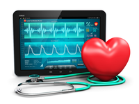 Monitoring patient vital signs on tablet PC. Source: 123RF; Copyright: scanrail; URL: https://www.123rf.com/photo_41658325_creative-abstract-cardiology-healthcare-medicine-and-heart-health-disease-medical-tool-technology-co.html?term=emergency%2Bheart%2Battack%2Bmachine%2Blearning&vti=o46xe0t3t6x065akn0-1-29; License: Creative Commons Attribution + Noncommercial + NoDerivatives (CC-BY-NC-ND).
