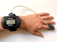 Wearable finger pulse oximeter used in the study. Source: Image created by the Authors; Copyright: The Authors; URL: http://mhealth.jmir.org/2019/6/e12866/; License: Licensed by the authors.