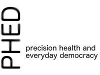 Logo for the project 'Precision Health and Everyday Democracy' (PHED). Source: Image created by the authors; Copyright: Michael Strange; URL: http://www.researchprotocols.org/2020/11/e17324/; License: Creative Commons Attribution (CC-BY).