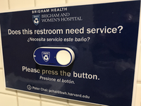 Integrated Internet of Things button to gauge restroom cleanliness. Source: Image created by the Authors; Copyright: The Authors; URL: http://www.jmir.org/2019/6/e13588/; License: Creative Commons Attribution (CC-BY).