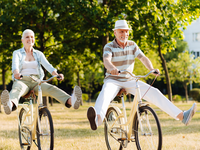 Older active couple  representing healthy aging phenotype. Source: iStock.com; Copyright: yacobchuck; URL: https://www.istockphoto.com/photo/joyful-woman-feeling-happiness-while-cycling-gm828372446-134803005?clarity=false; License: Licensed by the authors.