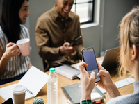 Interprofessional mobile learning. Source: rawpixel / Pexels; Copyright: rawpixel; URL: https://www.pexels.com/photo/woman-holding-white-smartphone-with-black-case-1331970/; License: Licensed by JMIR.