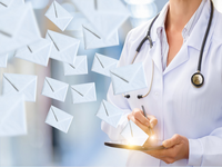 """Viewpoint """"EMAIL USE RECONSIDERED IN HEALTH PROFESSIONS EDUCATION"""". Source: iStock by Getty Images; Copyright: Natali_Mis; URL: https://www.istockphoto.com/photo/doctor-makes-sending-email-gm693373528-128034909; License: Licensed by the authors."""