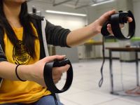 The Oculus Touch controllers. Source: Image created by the Authors; Copyright: Leia C Shum; URL: https://biomedeng.jmir.org/2019/1/e12291; License: Creative Commons Attribution (CC-BY).