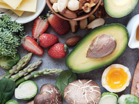 Image of examples of possible foods from a very low-carbohydrate, ketogenic diet. Source: Canva.com; Copyright: ThitareeSarmkasat; URL: https://www.canva.com/photos/MADesdFi-T8-keto-ketogenic-diet-low-carb-healthy-food/; License: Licensed by the authors.