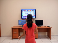 A child playing FoodRateMaster. Source: Image created by the authors; Copyright: The Authors; URL: http://games.jmir.org/2020/3/e21813/; License: Creative Commons Attribution (CC-BY).