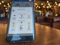 the InDEx app in a pub setting. Source: Image created by the Authors; Copyright: Daniel Leightley; URL: http://mhealth.jmir.org/2019/5/e12267/; License: Creative Commons Attribution (CC-BY).