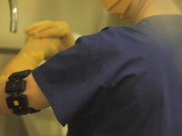 A nurse performs the WHO handwash procedure with Myo armbands. Source: Image created by the authors; Copyright: The Authors; URL: http://mhealth.jmir.org/2020/3/e17001/; License: Licensed by JMIR.