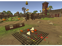 Fruity Feet Gameplay. The player embodies the avatar feet and hands, using them to squish virtual fruit. The player must stomp on as much fruit as possible before the timer runs out. Players are awarded points based on how quickly and effectively they stomp on the fruit. Their score is tracked in real-time and they can keep track of previous high-scores to try and beat their old records. The virtual world is built to look as if players are on a farm to further immersion and provide an engaging game environment. Source: Image created by the Authors; Copyright: The Authors; URL: http://rehab.jmir.org/2020/2/e22620/; License: Creative Commons Attribution (CC-BY).