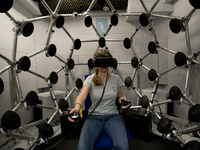 Experimental setup with Oculus Rift head-mounted display in the semi-anechoic room. Source: Image created by the authors; Copyright: The Authors; URL: http://games.jmir.org/2020/3/e17576/; License: Creative Commons Attribution + Noncommercial + ShareAlike (CC-BY-NC-SA).