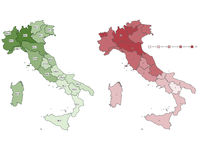 Standardized response rates and the incidence of SARS-CoV-2 infection per 100,000 inhabitants by Italian region as of April 23, 2020. Source: Image created by the authors; Copyright: The Authors; License: Licensed by JMIR.