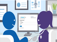 Graphic of a patient and clinician using MyDiabetesPlan in the clinic. Source: Image created by MyDiabetesPlan team; Copyright: Catherine H Yu; License: Creative Commons Attribution (CC-BY).