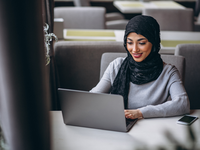 Source: Freepik; Copyright: senivpetro; URL: https://www.freepik.com/free-photo/arabian-woman-hijab-inside-cafe-working-laptop_4410718.htm; License: Licensed by JMIR.