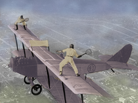 Vintage aviators playing in equilibrium on the void (in relation to the article: metaphorical image of the equilibrium between the choice of demoralization or meaning in life in the face of an absurd suffering). Source: Wikicommons, modified by authors; Copyright: The Authors; URL: https://www.researchprotocols.org/2020/11/e24882; License: Creative Commons Attribution (CC-BY).
