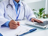 Source: Freepik; Copyright: pressfoto; URL: https://www.freepik.com/free-photo/hands-unrecognizable-female-doctor-writing-form-typing-laptop-keyboard_5839269.htm#page=1&query=clinical%20doctor&position=0; License: Licensed by JMIR.