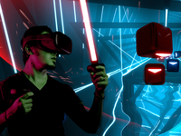 Man playing Virtual Reality with Beat Saber background. Source: Author merged images from FlickR and Unsplash; Copyright: Minh Pham (https://unsplash.com/photos/HI6gy-p-WBI) and PlayStation Europe (FlickR); URL: https://www.flickr.com/photos/playstationblogeurope/27771433617; License: Licensed by JMIR.