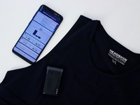 Image is of the Hexoskin Smart Shirt, Hexoskin Smart recording device and mobile app. Source: The Authors; Copyright: Hamzeh Khundaqji; URL: http://mhealth.jmir.org/2020/5/e18092/; License: Creative Commons Attribution (CC-BY).
