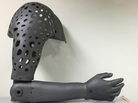 A forequarter prosthesis created by leveraging digital technology. Source: Image created by the Authors; Copyright: The Authors (Trevor Binedell); URL: http://rehab.jmir.org/2020/2/e23827/; License: Creative Commons Attribution (CC-BY).
