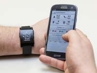 The Diabetesdagboka mobile app with a connected smartwatch. Source: Czech Technical University in Prague; Copyright: Czech Technical University in Prague; URL: https://mhealth.jmir.org/2019/7/e11527; License: Licensed by JMIR.