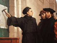 Martin Luther nails his 95 theses to the cathedral door, declaring that the people should have direct access to knowledge (the Bible). Source: Wikimedia Commons; Copyright: Ferdinand Pauwels; URL: https://commons.wikimedia.org/wiki/File:Ferdinand_Pauwels_-_Luther_hammers_his_95_theses_to_the_door.jpg; License: Public Domain (CC0).