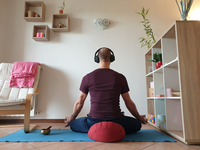 Meditation at home during social isolation. Source: The Authors; Copyright: Silvia Francesca Maria Pizzoli; URL: http://mental.jmir.org/2020/12/e22757/; License: Creative Commons Attribution (CC-BY).