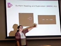 DREX (Durham Reading and Exploration) visual impairment training tool talk. Source: Image taken at recent talk; Copyright: The Authors; License: Creative Commons Attribution (CC-BY).