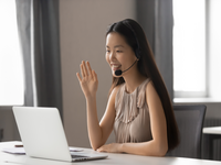Source: Adobe Stock; Copyright: fizkes; URL: https://stock.adobe.com/ca/images/smiling-asian-businesswoman-wearing-wireless-headset-waving-doing-video-chat/279853324; License: Licensed by JMIR.