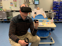 Application team leader using VR headset. Source: Image created by the Authors; Copyright: The Authors; URL: http://games.jmir.org/2020/3/e20797/; License: Creative Commons Attribution (CC-BY).