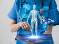 Clinician with EHR. Source: iStock by Getty Images; Copyright: The Authors; URL: https://www.istockphoto.com/photo/medical-technology-concept-electronic-medical-record-gm872676342-243745764; License: Licensed by the authors.