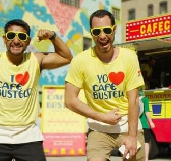 Men wearing cafe bustelo t-shirts