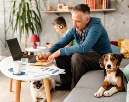 man working from home on couch with son and pets