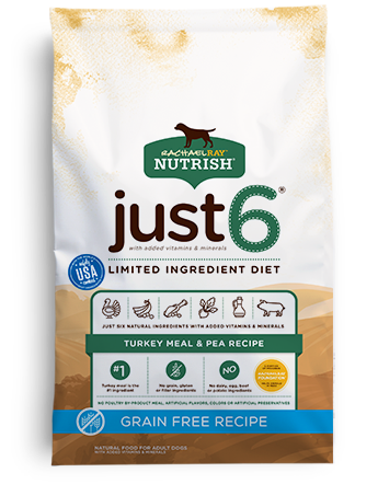 Just 6® Grain Free Turkey Meal & Pea Recipe bag