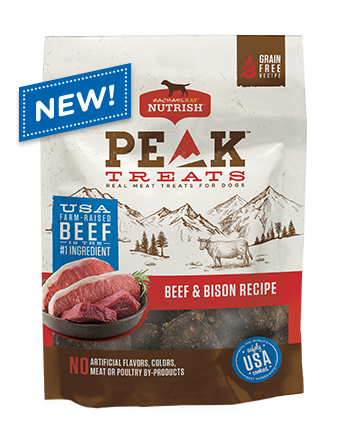 <p>PEAK Beef &amp; Bison Recipe Dog Treats</p>  bag
