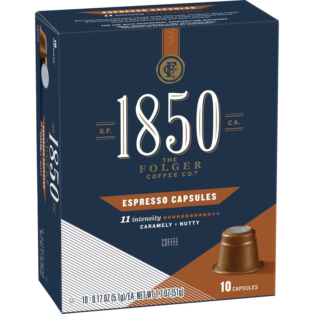 Folgers 1850 espresso capsules, 10 count box of espresso
