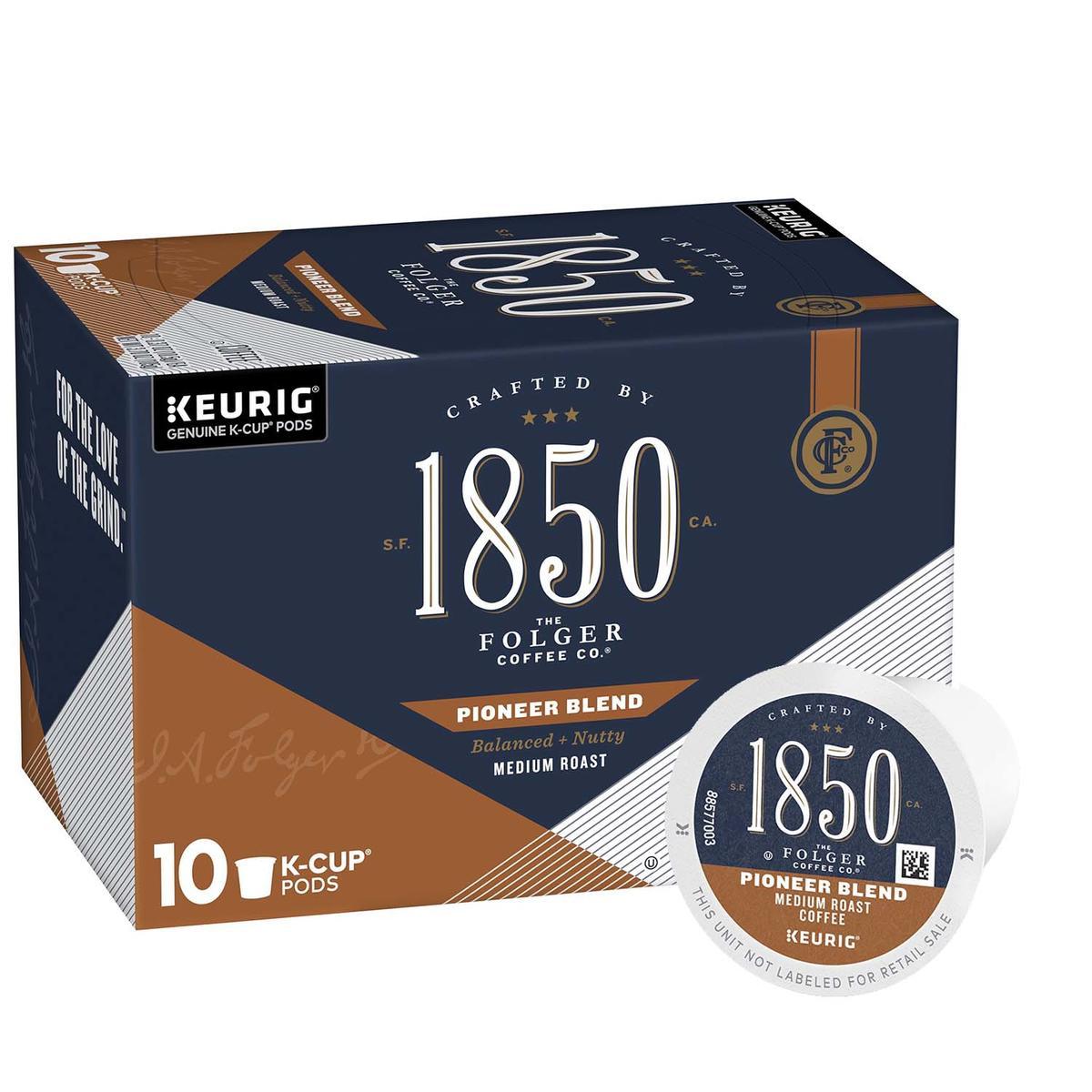 Folgers 1850 medium roast coffee, Pioneer Blend variety, 10 count box of k cups