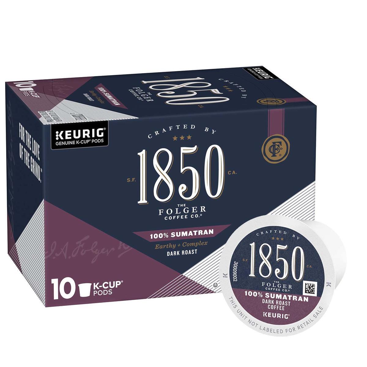 Folgers 1850 dark roast coffee, 100% Sumatran variety, 10 count box of k cups