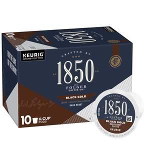 Folgers 1850 coffee, dark roast coffee, k cups, black gold variety, 10 count carton