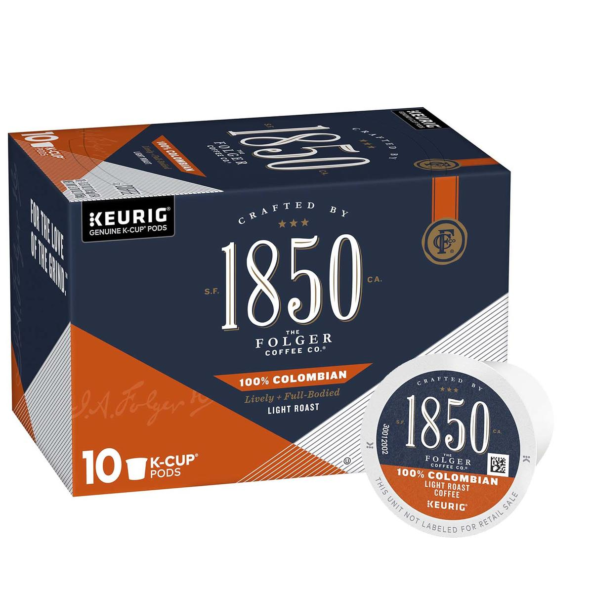 Folgers 1850 medium-roast coffee, Colombian variety, 10 count box of k cups