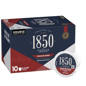 Folgers 1850 medium dark coffee, Trailblazer variety, 10 count box of k cups