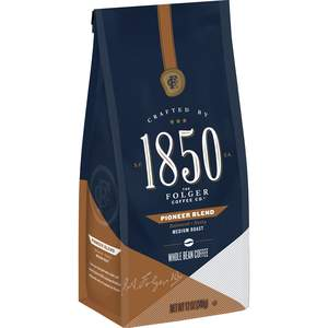 Folgers 1850 medium roast coffee, Pioneer Blend variety, 12oz bag of whole bean coffee