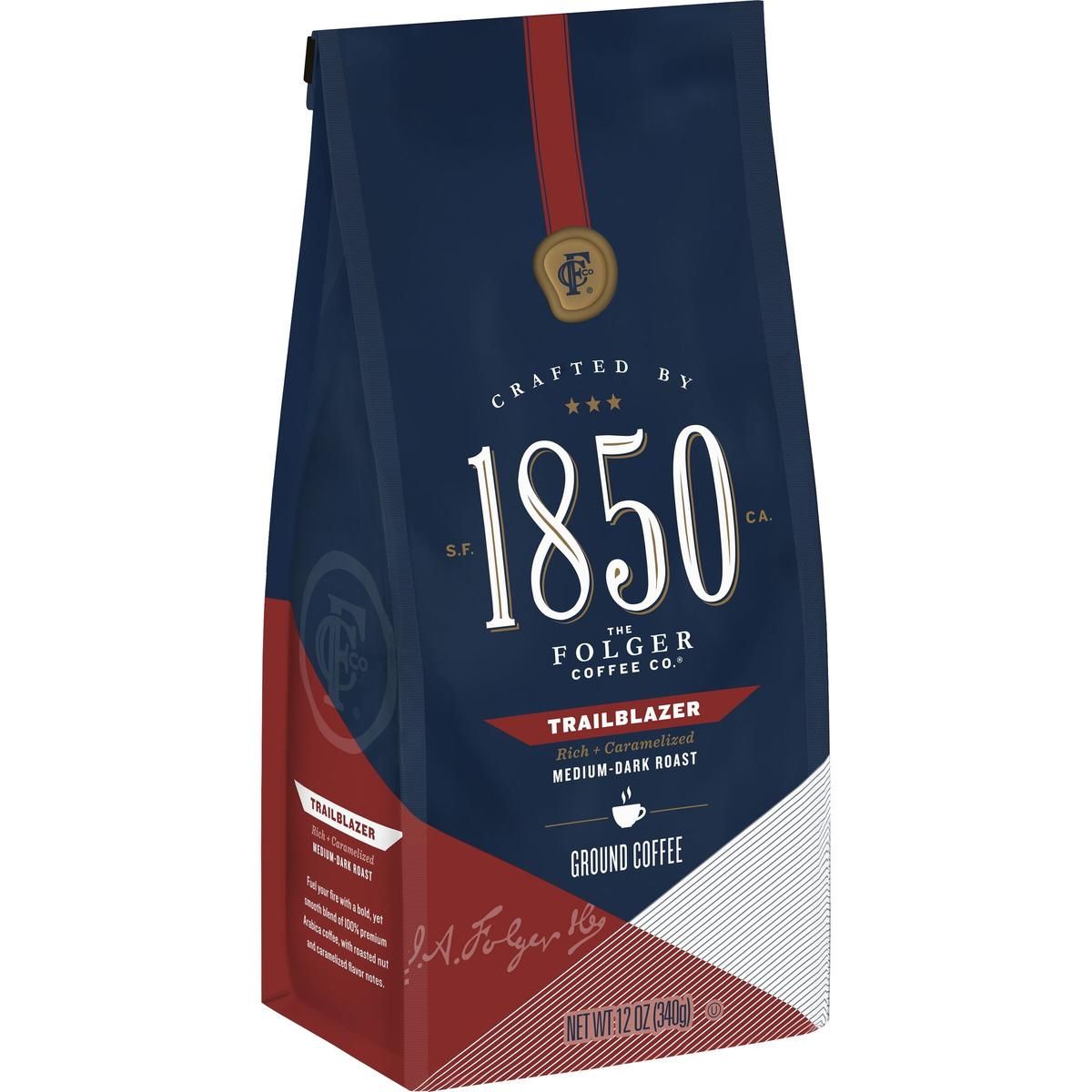 Folgers 1850 medium dark coffee, Trailblazer variety, 12oz bag of ground coffee