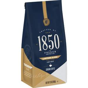 Folgers 1850 light roast coffee, Lantern Glow variety, 12oz bag of ground coffee