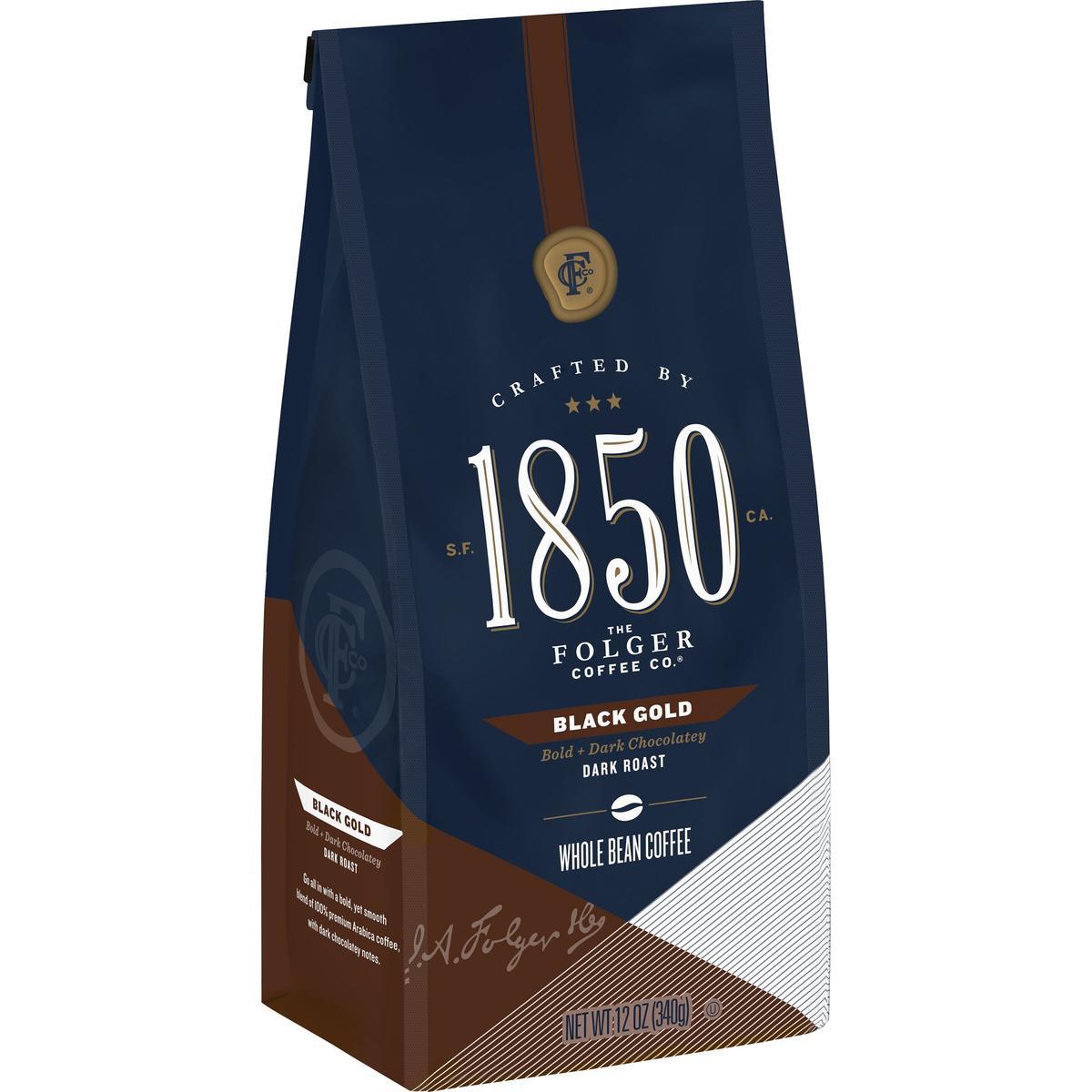 Folgers 1850 dark roast coffee, whole bean coffee, black gold variety, 12oz bag