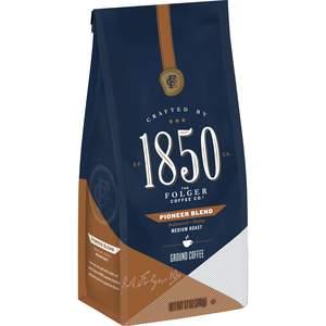 Folgers 1850 medium roast coffee, Pioneer Blend variety, 12oz bag of ground coffee