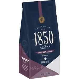 Folgers 1850 dark roast coffee, 100% Sumatran variety, 12oz bag of ground coffee