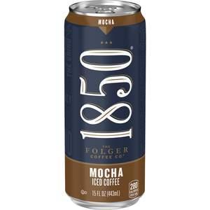 Folgers 1850 mocha iced coffee. 15 fl oz can