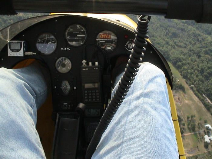 View from the ultralight plane jumpseat behind the pilot.